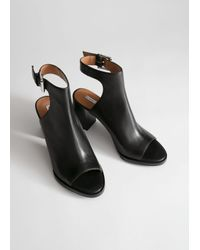 & Other Stories Black Leather Open Toe Heeled Sandals