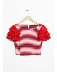 & Other Stories Red Ruffle Sleeve Jersey Top