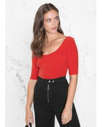 & Other Stories Red Scooped Neckline Top