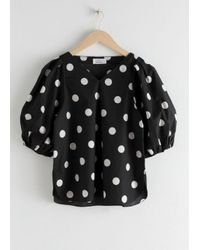 & Other Stories Black Polka Dot Puff Sleeve Blouse