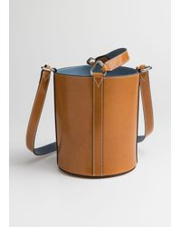 & Other Stories Natural Structured Leather Bucket Bag