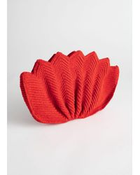 & Other Stories Red Crochet Lotus Clutch