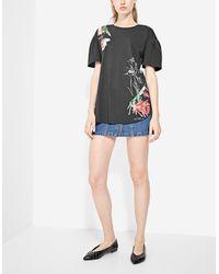 Stradivarius | Black Two-material Floral T-shirt | Lyst