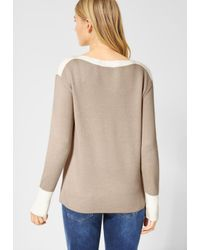 Street One Natural Pullover mit Colourblock