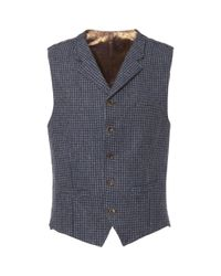Gibson London Blue Muted Check Waistcoat for men