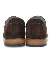 GRENSON Brown Ashley Chocolate Suede Loafer Shoe for men