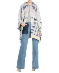 Peter Pilotto - Gray Wool Blend Cape With Angora - Lyst