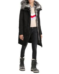 Woolrich | Military Down Parka With Fur-trimmed Hood - Black | Lyst
