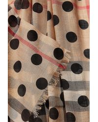 Burberry - Multicolor Dot Printed Check Scarf In Mulberry Silk And Wool - Lyst