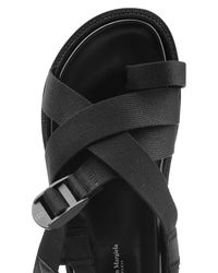 Maison Margiela - Black Sandals With Leather, Fabric And Suede for Men - Lyst