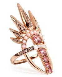 Nikos Koulis | 18kt Pink Gold Spectrum Ring With Diamonds And Tourmaline | Lyst