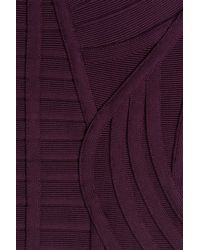 Hervé Léger - Purple V-neck Bandage Dress - Lyst
