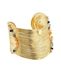 Gas Bijoux - Metallic 24k Gold-plated Wave Cuff With Stones - Lyst