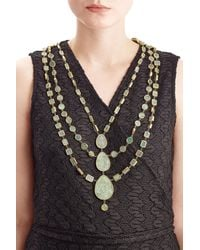 Pippa Small | Metallic Gold Plated Silver Necklace With Chrysocolla Stones | Lyst