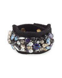 Marni | Crystal Embellished Cuff Bracelet - Black | Lyst