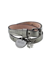 Alexander McQueen - Metallic Embellished Leather Wrap Bracelet - Lyst