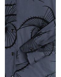Agnona - Blue Cotton Shirt With Velvet Appliqué - Lyst