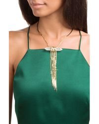 Alexis Bittar | Metallic Collar Necklace With Crystal And Chain Pendant | Lyst