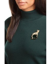 Kenneth Jay Lane - Green Crystal Embellished Cat Brooch - Lyst