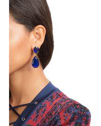 Kenneth Jay Lane | Blue Gold-tone Crystal Clip Earrings | Lyst