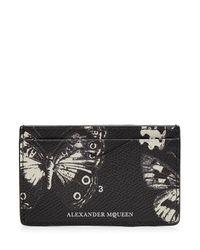 Alexander McQueen | Black Printed Leather Card Holder | Lyst