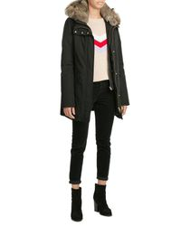 Woolrich | Black Down Parka With Fur-trimmed Hood | Lyst