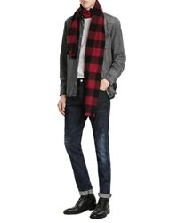DSquared² | Red Wool Buffalo Check Scarf for Men | Lyst