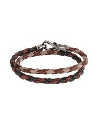 Tod's - Brown Braided Leather Wrap Bracelet for Men - Lyst