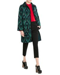 M Missoni   Green Wool Coat With Metallic Thread   Lyst