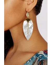 Aurelie Bidermann   18k Yellow Gold Plated Earrings With Mother Of Pearl   Lyst