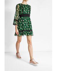 Anna Sui | Green Floral Print Silk Dress | Lyst