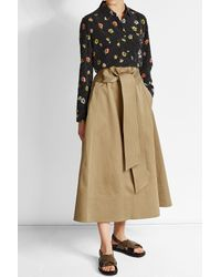 Joseph | Gray Cotton Midi Skirt With Tie Belt | Lyst