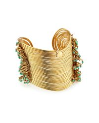 Gas Bijoux | Metallic Wave 24k Gold Plated Cuff With Glass Rocailles | Lyst