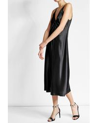 T By Alexander Wang   Black Silk Dress With Knotted Front   Lyst
