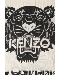 KENZO | Black Printed Scarf With Cotton And Silk | Lyst