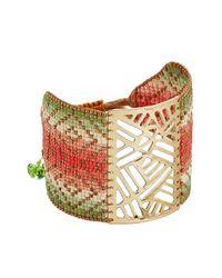 Mishky - Metallic Bead Embellished Cuff Bracelet - Lyst