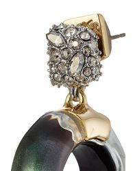 Alexis Bittar | Metallic 10kt Gold Earrings With Lucite And Crystals | Lyst