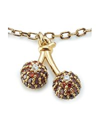 Marc Jacobs - Metallic Embellished Sterling Silver Cherry Chain Bracelet - Lyst