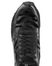 KENZO - Black Leather Sneakers - Lyst