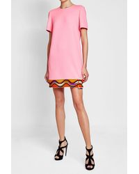 Emilio Pucci - Pink Shift Dress With Wool And Silk - Lyst