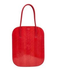 Nina Ricci - Red Snakeskin And Leather Tote - Lyst