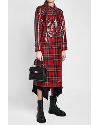 Burberry - Red Coated-tartan Wool Trench Coat - Lyst