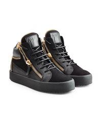 Giuseppe Zanotti   Black Leather And Velvet High Top Sneakers   Lyst