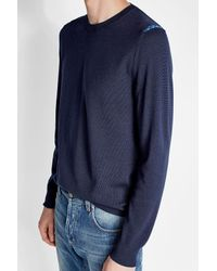 Alexander McQueen - Blue Wool Pullover With Shoulder Detail for Men - Lyst