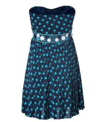 Vanessa Bruno - Blue Strapless Dress - Lyst