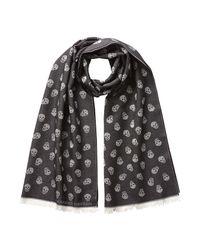Alexander McQueen | Wool-silk Allover Skull Print Scarf - Black for Men | Lyst