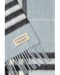 Burberry - Black Check Print Cashmere Scarf - Lyst