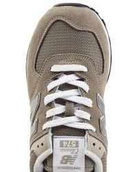 New Balance - Gray Wl574 B Suede Sneakers With Mesh - Lyst