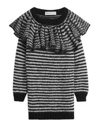 Philosophy Di Lorenzo Serafini | Black Striped Ruffle Off Shoulder Dress | Lyst