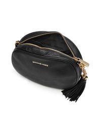 MICHAEL Michael Kors | Black Leather Shoulder Bag With Tassel | Lyst